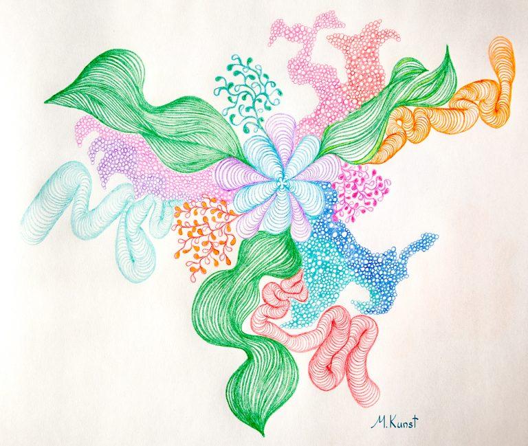 loslassen; entspannen; relax; Zeichnung von Marion Kunst; abstract floral art; Kunst design; ThetaART